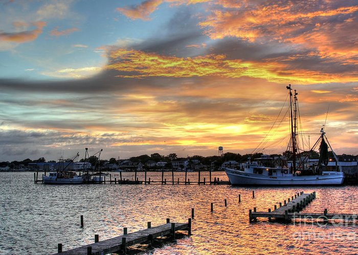 North Carolina Greeting Card featuring the photograph Shrimp Boats At Sunset by Benanne Stiens