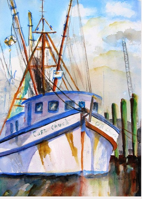 Boat Greeting Card featuring the painting Shrimp Fishing Boat by Carlin Blahnik CarlinArtWatercolor
