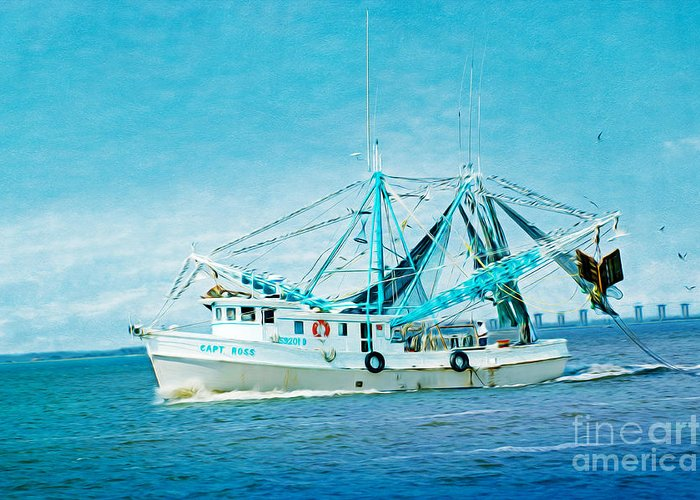 Boat Greeting Card featuring the photograph Shrimp Trawler by Laura D Young
