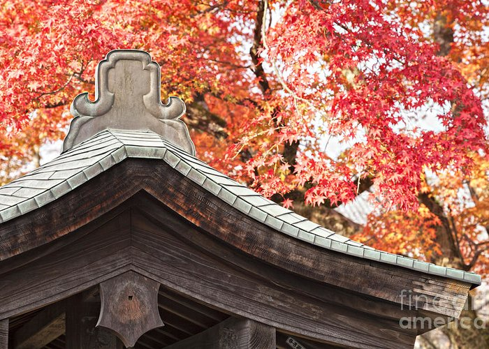 Arashiyama Greeting Card featuring the photograph Shrine Roof And Autumn Leaves Arashiyama Kyoto by Colin and Linda McKie