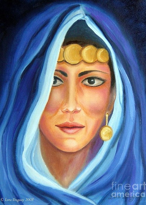 Gypsy Woman Greeting Card featuring the painting Shroud Of Mysticism by Lora Duguay