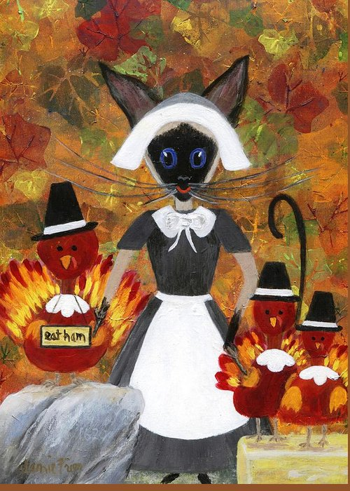 Siamese Greeting Card featuring the painting Siamese Queen Of Thanksgiving by Jamie Frier