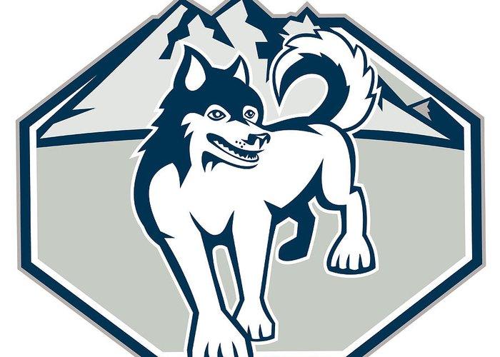 Siberian Husky Greeting Card featuring the digital art Siberian Husky Dog Mountain Retro by Aloysius Patrimonio