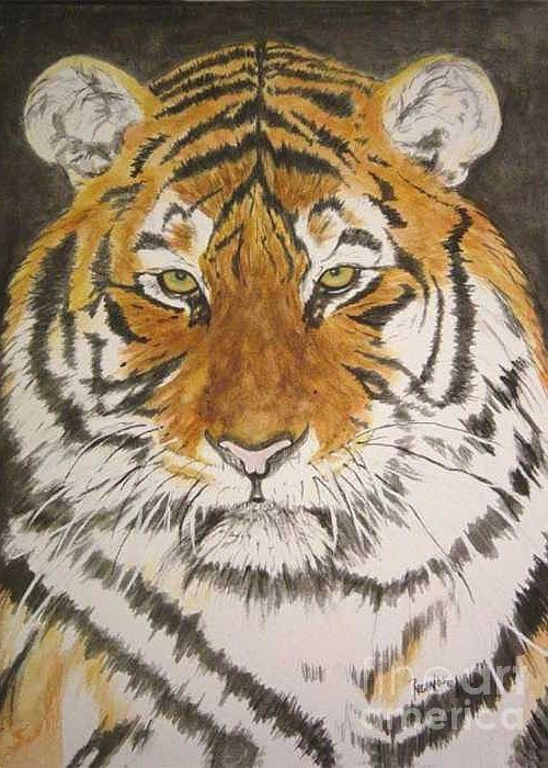 Siberian Tiger Greeting Card featuring the painting Siberian Tiger by Regan J Smith