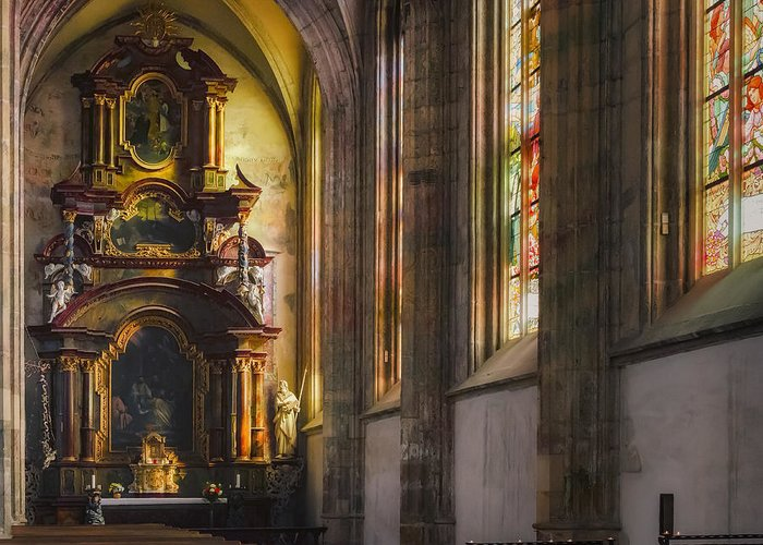 Chapel Greeting Card featuring the photograph Side Chapel Of St Barbara by Joan Carroll