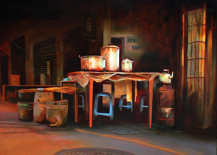 China Greeting Card featuring the painting Sidewalk Cafe by Sue Darius