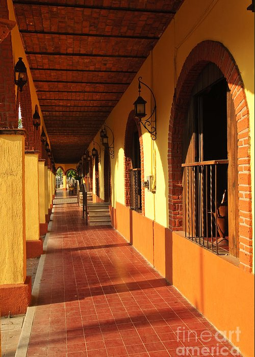 Tlaquepaque Greeting Card featuring the photograph Sidewalk In Tlaquepaque District Of Guadalajara by Elena Elisseeva