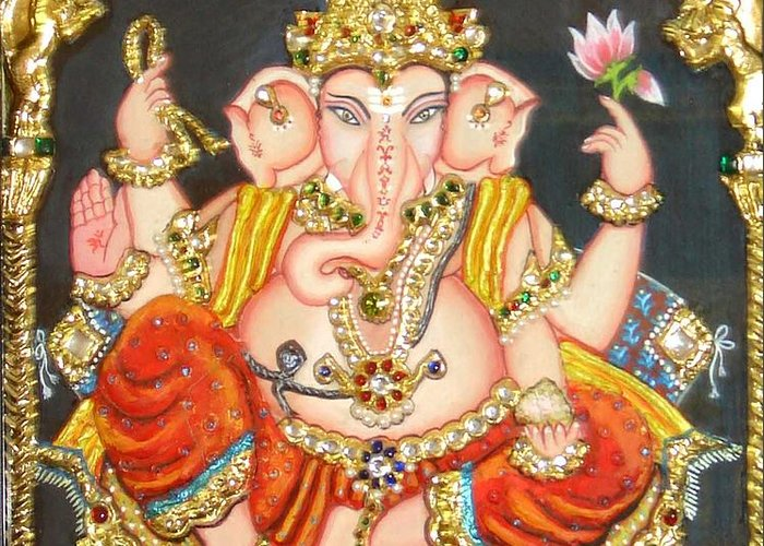 Tanjore Greeting Card featuring the painting Sidha Ganapathi					 by Jayashree