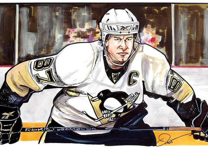 Sidney Crosby Greeting Card featuring the drawing Sidney Crosby by Dave Olsen