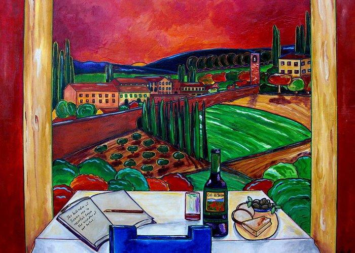 Siena Greeting Card featuring the painting Siena Hillside by Patti Schermerhorn