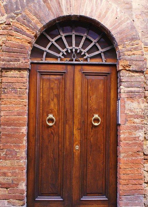 Door Greeting Card featuring the photograph Sienna Door by Barbara Stellwagen