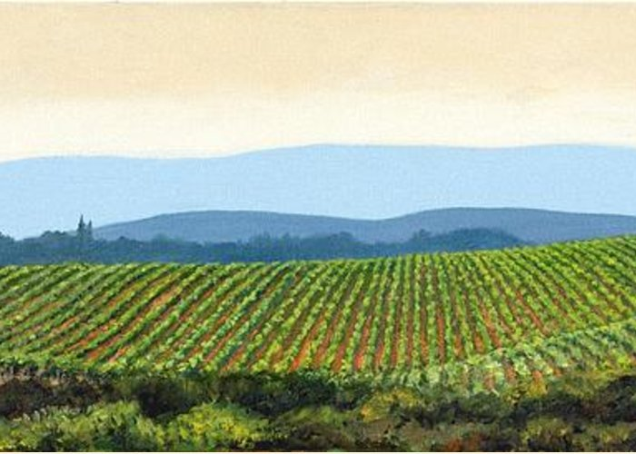 Tuscany Landscape Greeting Card featuring the painting Sienna Hills by Michael Swanson