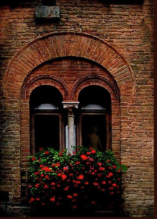 Window Greeting Card featuring the painting Sienna Window by Patrick J Osborne