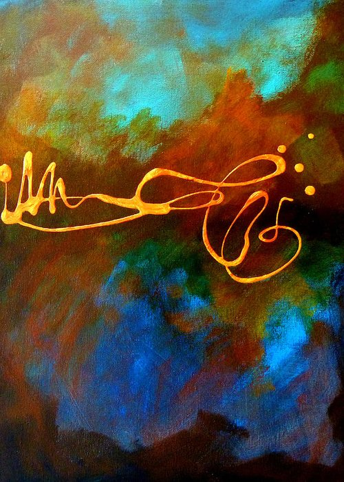 Zen Greeting Card featuring the painting Signature by Nancy Merkle