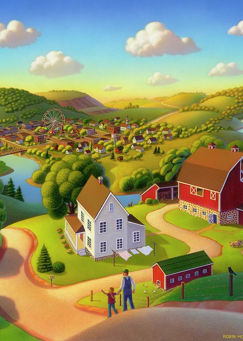 Summer On The Farm Greeting Card featuring the painting Signs And Wonders by Robin Moline