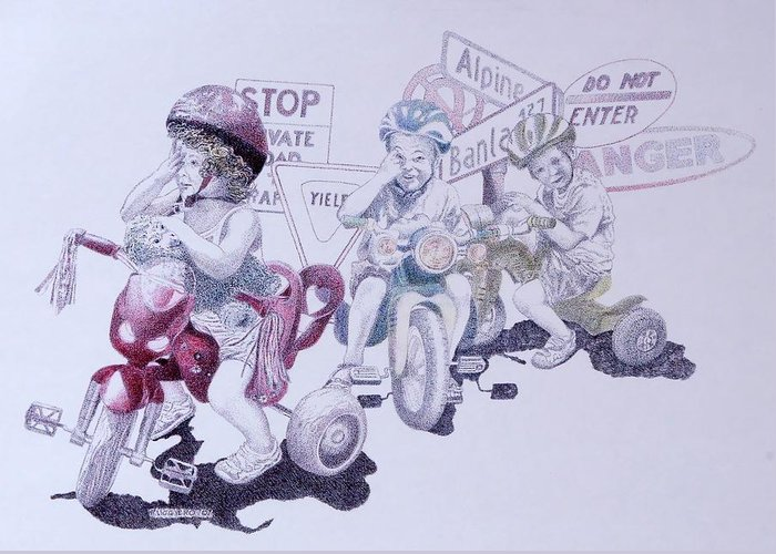 Children Bicycles Kids Portraits Greeting Card featuring the painting Signsofconfusion by Tony Ruggiero