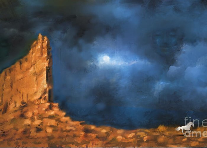 Sceninc Greeting Card featuring the painting Silence of the Night by - Artificium -