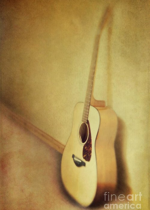 Acustic Greeting Card featuring the photograph Silent Guitar by Priska Wettstein
