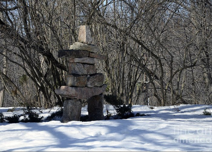 Inuksuk Greeting Card featuring the photograph Silent Messenger Of The Artic by Andre Paquin