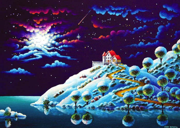 Painting Greeting Card featuring the painting Silent Night 9 by MGL Meiklejohn Graphics Licensing