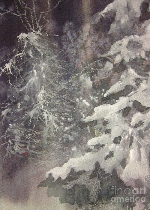 Snow Greeting Card featuring the painting Silent Night by Elizabeth Carr