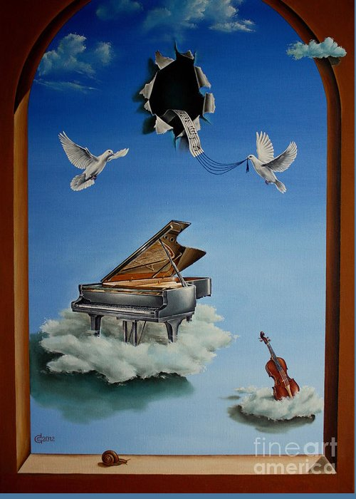 Surrealism Greeting Card featuring the painting Silent Symphony by Svetoslav Stoyanov