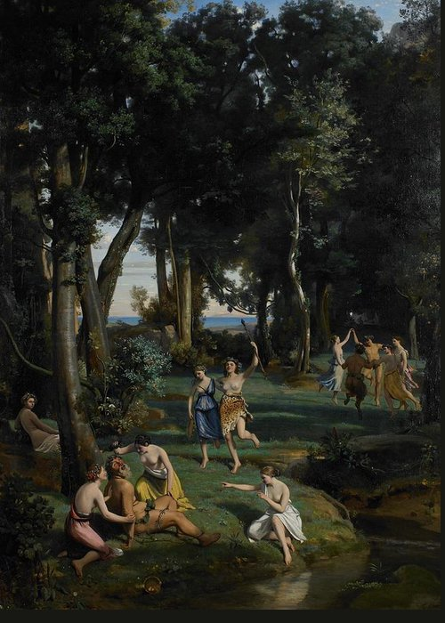 God; Goddess; Goddesses; Landscape; Idyllic; Stream; Idyll; Courting; Courtship; Mythological; Ancient Greeting Card featuring the painting Silenus by Jean Baptiste Camille Corot