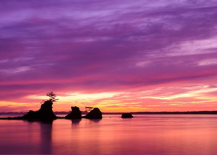 Siletz Bay Three Brothers Oregon Pacific Northwest Ocean Lincoln City Dusk Landscape Seascape Horizontal Sunset Greeting Card featuring the photograph Siletz Bay And The Three Brothers by Patrick Campbell