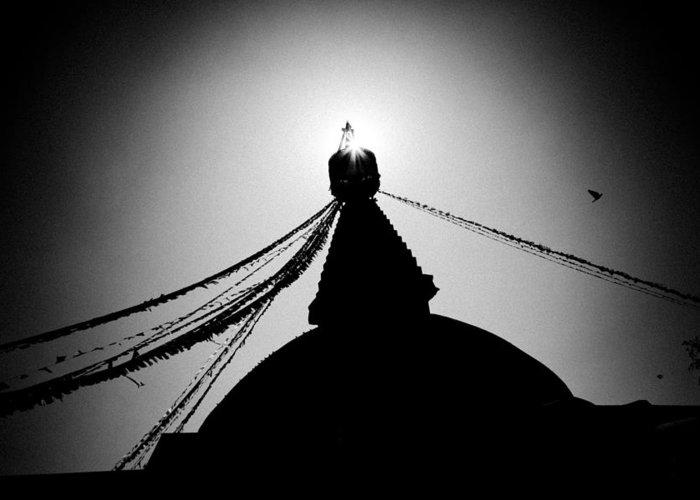 Gosaikunda Greeting Card featuring the photograph Silhouette Boudhanath Giant Buddhist Stupa In Kathmandu Himalaya Nepal by Raimond Klavins