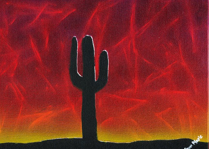 Landscape Greeting Card featuring the painting Silhouette Cactus by Dawn Marie Black