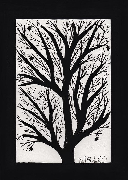 Silhouette Maple Greeting Card featuring the painting Silhouette Maple by Barbara St Jean