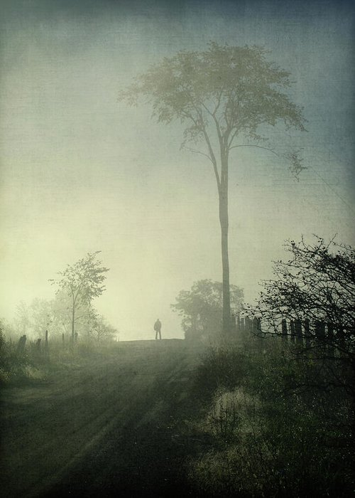 Tranquility Greeting Card featuring the photograph Silhouette Of A Man In Fog by Francois Dion