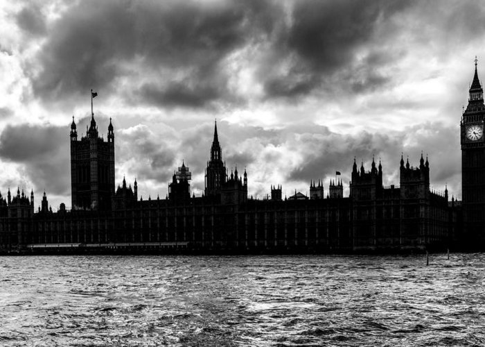 Bridge Greeting Card featuring the photograph Silhouette Of Palace Of Westminster And The Big Ben by Semmick Photo