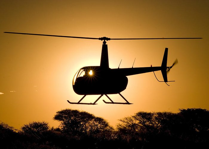 Robinson R44 Greeting Card featuring the photograph Silhouette by Paul Job