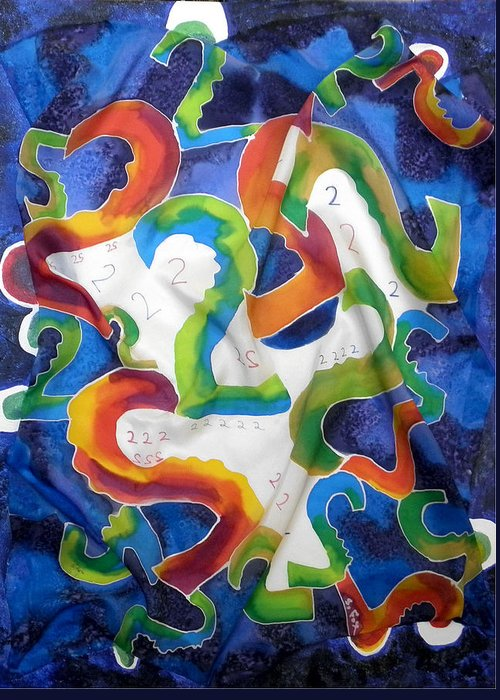 Abstract Greeting Card featuring the painting Silk 2 By 2 by Sandra Fox