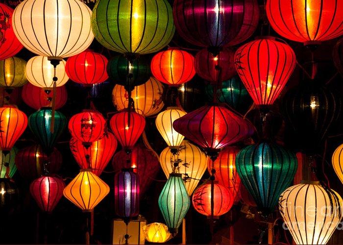Vietnam Greeting Card featuring the photograph Silk Lanterns In Vietnam by Fototrav Print