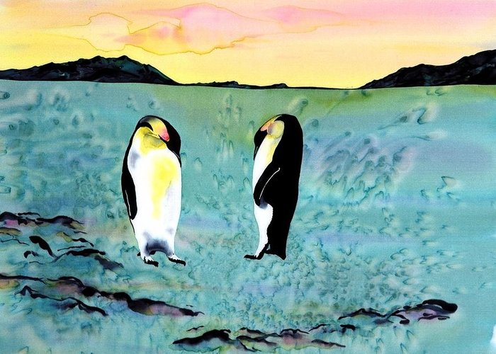 Penguins Greeting Card featuring the tapestry - textile Silk Penguins by Carolyn Doe