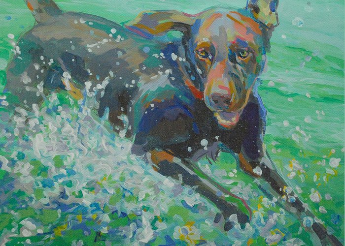 Water Dog Greeting Card featuring the painting Silly Goose by Kimberly Santini