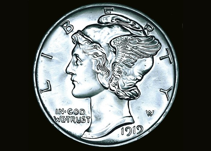 Coin Greeting Card featuring the drawing Black Silver Mercury Dime by Fred Larucci