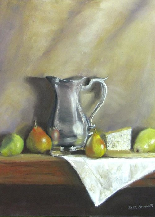 Still Life Greeting Card featuring the painting Silver Pitcher With Pears by Jack Skinner