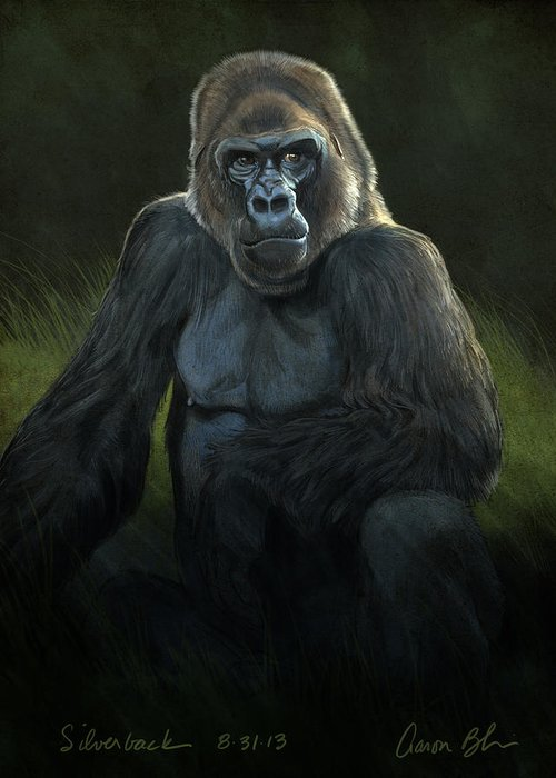 Digital Greeting Card featuring the digital art Silverback by Aaron Blaise