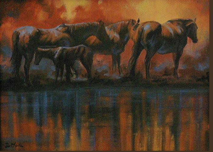 Horses Greeting Card featuring the painting Simmerdim by Mia DeLode