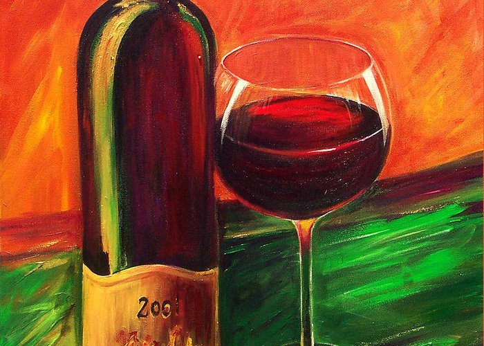 Wine Art Painting Greeting Card featuring the painting Simple Pleasures by Sheri Chakamian