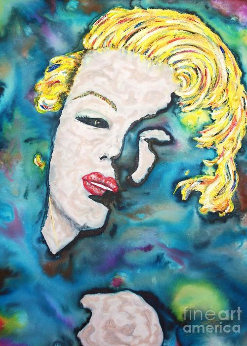 Marilyn Monroe Greeting Card featuring the painting Simply Monroe by Van David