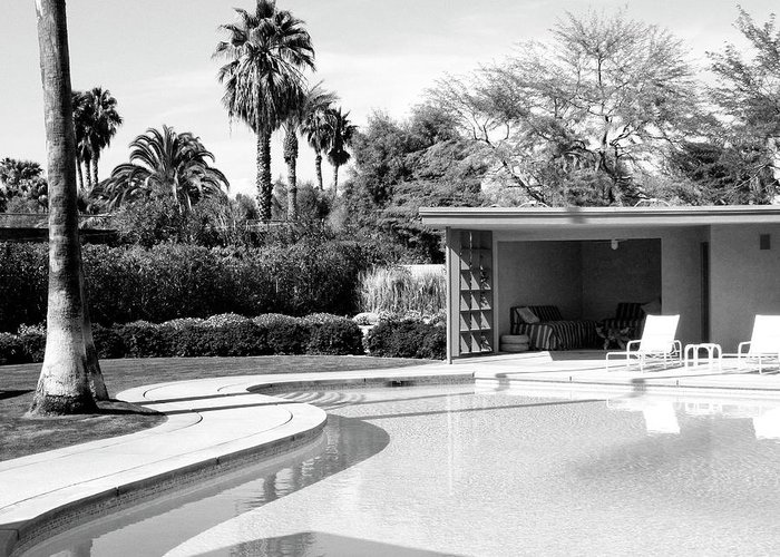 Sinatra House Greeting Card featuring the photograph Sinatra Pool And Cabana Bw Palm Springs by William Dey