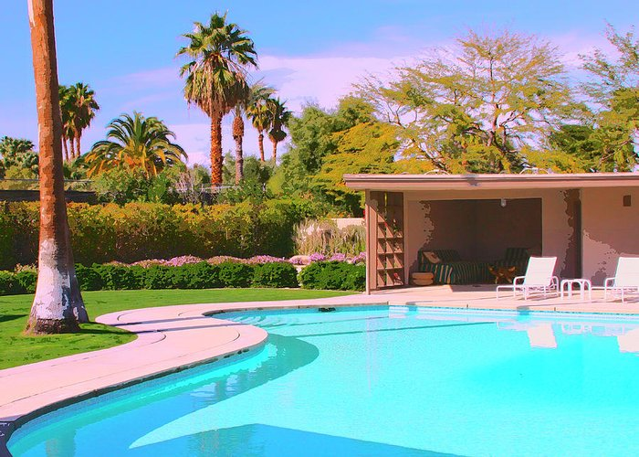Sinatra House Greeting Card featuring the photograph Sinatra Pool Cabana Palm Springs by William Dey