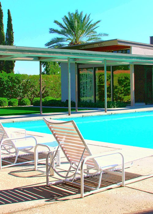 Sinatra House Greeting Card featuring the photograph Sinatra Pool Palm Springs by William Dey