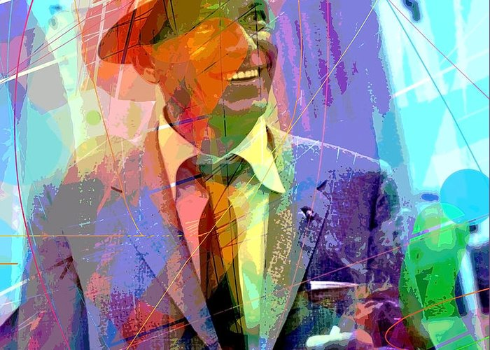 Frank Sinatra Greeting Card featuring the painting Sinatra Swings by David Lloyd Glover