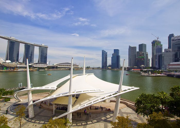 Marina Greeting Card featuring the photograph Singapore City Skyline From The Esplanade by David Gn