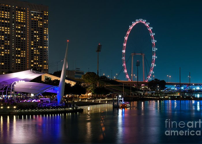 Singapore Greeting Card featuring the photograph Singapore Flyer At Night by Rick Piper Photography